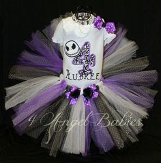 Personalized The NIGHTMARE BEFORE CHRISTMAS Purple & Black Girls Birthday Tutu Outfit personalized with name, number and size. Includes hair piece, tutu, and top, shirt or onesie