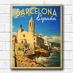 Barcelona Spain Travel Art Print - INSTANT DOWNLOAD Printable Wall Art - Vintage Travel Posters from VintagePosterDesigns.com