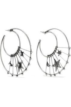 DANNIJO - Fynn Oxidized Silver-plated Swarovski Crystal Hoop Earrings - one size