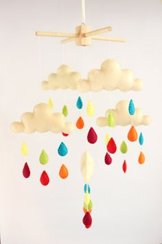 Mobile Clouds/ Baby Shower Gift/ Baby Mobile/ Nursery Mobile/ Baby Crib Mobile/ Toy by byPocoLoco on Etsy