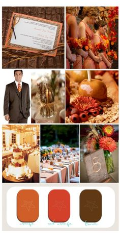 Rustic Fall Wedding Inspiration Board #orangefallwedding  maybe I should think about fall I like the colors better
