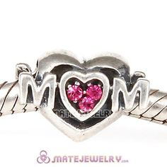 Sterling Silver European MOM Heart Bead with Rose Austrian Crystal
