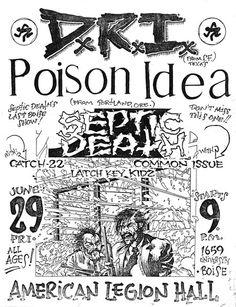 Pushead flyer- DRI- POISON IDEA SEPTIC DEATH