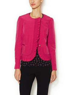 Cotton Ruffle Collarless Jacket