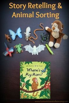 Julia Donaldson's Where's My Mom? Book Activity Practice sorting animals and story retelling with Julia Donaldson's Where's My Mom Language Activities, Reading Activities, Activities For Kids, Julia Donaldson Books, Story Sack, Story Retell, Books For Moms, Puzzle Books, Diy Crafts