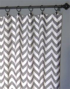 "96"" Grey Zig Zag Curtains - Two Chevron Curtain Panels - 50""x96"" - FREE SHIPPING. $120.00, via Etsy."