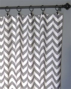 "96"" Grey Zig Zag Curtains - Two Chevron Curtain Panels - 50""x96"" - FREE SHIPPING. $120.00, via Etsy."