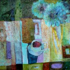 """Caroline kaye: Still Life with Blue Flowers and Cup and Saucer  Mixed Media painting on canvas.  22""""X22"""""""