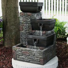 Polystone Stacked Stone Square Bowls Outdoor Water Fountain with Led Lights - Sunnydaze Decor, Gray Outdoor Waterfall Fountain, Patio Fountain, Garden Water Fountains, Indoor Waterfall, Small Fountains, Indoor Fountain, Water Garden, Outdoor Fountains, Fountain Ideas