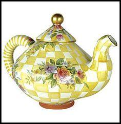 pretty yellow- checked teapot