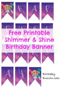 Free Printable Shimmer and Shine Birthday Banner | Shimmer and Shine party decorations| Birthdaybuzzin.com