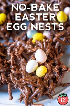 Such a sweet little springtime treat – and they're SO easy to make. Easter Snacks, Easter Recipes, Appetizer Recipes, Easter Food, Appetizers, Egg Nest, Holiday Treats, Holiday Recipes, Peanut Butter Chips