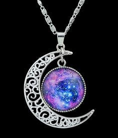 Purple Gemstone Silver Hollow Moon Necklace 4.56