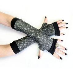 Grey Winter Arm Warmers Fingerless Gloves with black by WearMeUp, $21.50