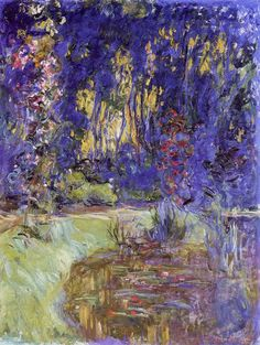 Claude Monet Water-Lily Pond at Giverny painting, oil on canvas & frame; Claude Monet Water-Lily Pond at Giverny is shipped worldwide, 60 days money back guarantee. Monet Paintings, Impressionist Paintings, Landscape Paintings, Landscapes, Renoir, Claude Monet, Artist Monet, Art Amour, Edgar Degas
