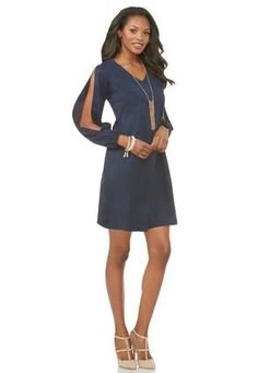 Cato Fashions Faux Suede Shift Dress-Plus #CatoFashions