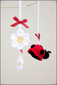 ladybug baby mobile crochet baby mobile ladybug by NadiasPlace, $65.00