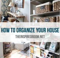 How to organize your home with baskets and containers via The Inspired Room