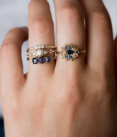 Blue Sapphire Bouquet Ring - Audry Rose #beautifuljewelryrings