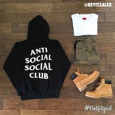 Today's top #outfitgrid is by @heyitzalex. ▫️#AntiSocialSocialClub #Hoodie ▫️#Killionest #Tee ▫️#ASOS #flatlay #flatlayapp #flatlays