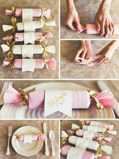 pink and cream crepe paper crackers