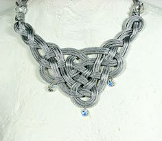 Celtic knot bib necklace Hand knotted silver grey by ShopPretties