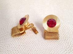 Vintage Soviet Cufflinks With Red Rhinestones Inlay - jewelry, men jewelry, suit accessories, tie clips, men accessories by BestVintage4You on Etsy