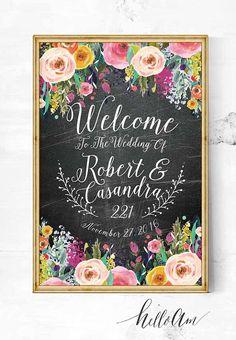 wedding sign wedding entrance sign wedding reception by HelloAm