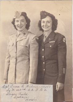 US Army Air Force women in uniform.  Officer on the right has the cadusa insignias on her lapels