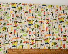 Naive folk novelty fabric. Printed on a sheer stripe leno weave. Houses, cars, windmills, toys and animals in this quirky print. 100% Cotton 46 wide Dates from the 1960s  Sold by the 1/2 yard cut. If you would like more,increase the quantity when ordering. Your fabric will be sent in one