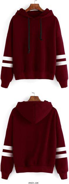 Burgundy Drop Shoulder Varsity Striped Hooded Sweatshirt. Recommend for a larger size for a loose fit.