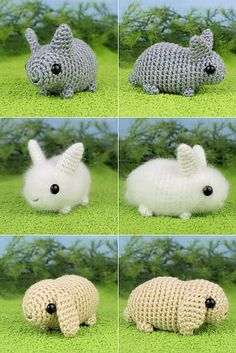 EEEEEEEK! crocheted baby bunnies. i <3 the white fuzzy one in the middle. it was made with real angora yarn. awwwwwww!