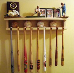 9 bat rack holder - cHASE Baseball Shelf, Baseball Bat Display, Baseball Crafts, Sports Storage, Household Organization, Mammoth Cave, Storage Rack, Drake, Woodwork