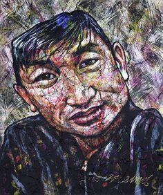 YiPyung Kim 김이평 // 'Portrait of Jung, Youn Woong' '정연웅의 초상' // 87x100cm, Reactive dye, Acid dye, Silk, 2014