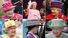 Six images featuring Queen Elizabeth II wearing a variety of hats. I've always loved her hats. :)