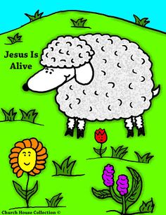 Sunday School-Easter Sheep Jesus Is Alive Coloring Page For Kids.