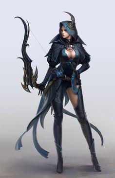 ArtStation - Sniper, TaeKwon Kim / A-rang Fantasy Female Warrior, Fantasy Armor, Fantasy Women, Fantasy Girl, Female Art, Angel Warrior, Dnd Characters, Fantasy Characters, Female Characters