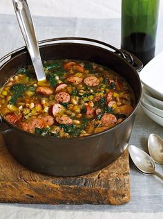 White Bean, Kale and Kielbasa Soup | so, so good. Made it with turkey kielbasa and it was delicious.
