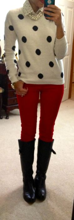 Polka Dot Collared shirt under polka dot sweater with red pants and black riding boots.  Too Cute
