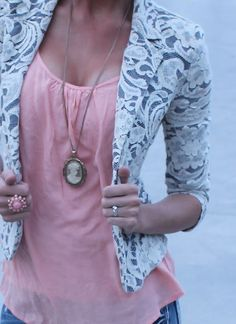 pink, lace, blazer.. YES!