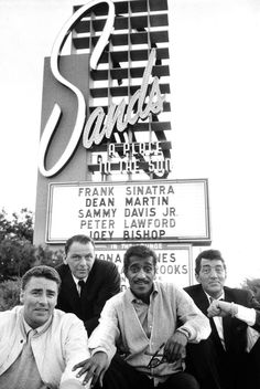 Frank Sinatra, Peter Lawford, Sammy Davis Jr. & Dean Martin photographed at the Sands Hotel, when they were appearing there and also filming Ocean's 11 (1960)