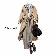 ハンサムなトレンチコーデもふわもこ小物で可愛らしさのギャップを【2017/10/26コーデ】Marisol ONLINE|女っぷり上々!40代をもっとキレイに。
