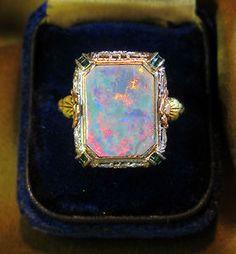 14k Black Opal Cocktail Ring Rose Gold Vintage Box Victorian Antique 4 50 Carats | eBay #opalsaustralia