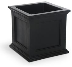 Mayne Black Plastic Outdoor Planter - Traditional - Outdoor Planters - by Lowe's