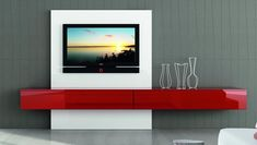 Modern Italian TV Unit Astro Composition 1 - High gloss contemporary TV unit with 1 drawers, 1 flap door and TV Panel Contemporary Tv Units, Modern Tv Unit Designs, Modern Tv Units, Contemporary Furniture, Living Room Tv, Living Room Modern, Living Room Designs, Home And Living, Tv Wall Decor