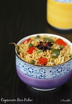 capsicum rice recipe - A pulao style rice made easy, delicious and very flavorful. Best during monsoons for dinner or lunch box or as a quick fix to a meal