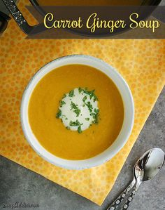 Carrot Ginger Soup - ginger gives this late summer favorite a little ziiiing! From SoupAddict.com #soup #autumn