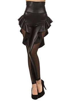 25f65028b5 Voglee Gothic Punk Rock Star PU Leather skirt Leggings Tights Pants (one  size, black)