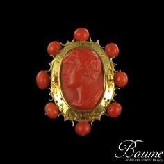 ANTIQUE CARVED CORAL CAMEO BROOCH, IN 18k YELLOW GOLD FRAME