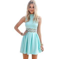 Women's Sleeveless Turtleneck Lace Stitching Mint Women Dress